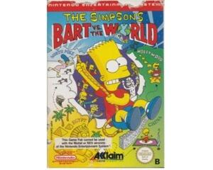 Simpsons, The  - Bart vs. The world m. (spansk) kasse (slidt) og manual (NES)